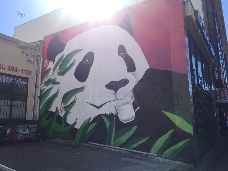 coffee, mural, graffiti, panda, artwork